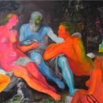 Baba, Kızları ve Adam 130.00 x 150.00 cm. Tual üzerine akrilik